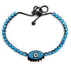 Rhodium blue sleeping beauty turquoise 925 silver adjustable bracelet c4892