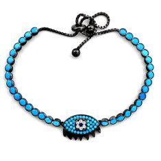 Rhodium blue sleeping beauty turquoise 925 silver adjustable bracelet c4896