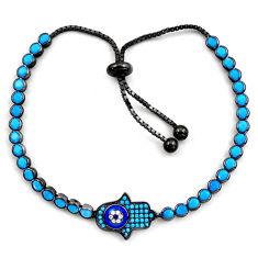 Rhodium blue sleeping beauty turquoise 925 silver adjustable bracelet c4958