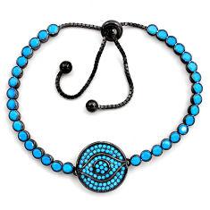 7.08cts rhodium blue sleeping beauty turquoise silver adjustable bracelet c4883