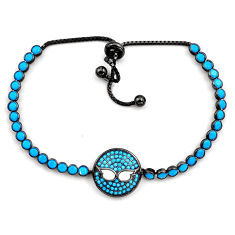 6.90cts rhodium blue sleeping beauty turquoise silver adjustable bracelet c4926