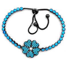 7.79cts rhodium blue sleeping beauty turquoise silver adjustable bracelet c4935