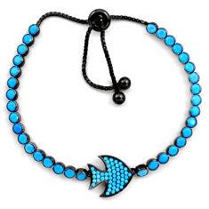 5.50cts rhodium sleeping beauty turquoise 925 silver adjustable bracelet c4938