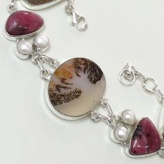 46.35cts SASSY NATURAL SCENIC RUSSIAN DENDRITIC AGATE 925 SILVER BRACELET F36413