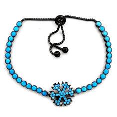 Silver 6.53cts rhodium blue sleeping beauty turquoise adjustable bracelet c4888