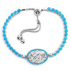 10.74cts sleeping beauty turquoise topaz 925 silver adjustable bracelet c4991