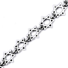 Star of david 925 sterling silver link bracelet jewelry h54077
