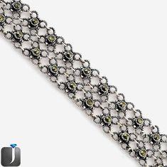 SWISS FINE MARCASITE 925 STERLING SILVER CIRCLE LINK BRACELET JEWELRY G7161