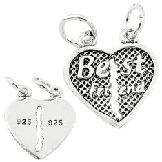 Best friend heart split charm solid 925 sterling silver children pendant c21252