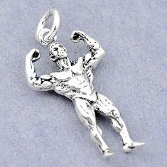 4.59gms bodybuilder newborn charm 925 sterling silver children pendant c21232