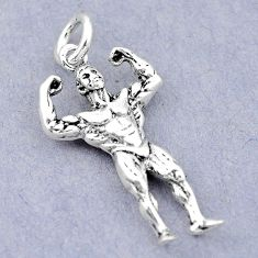 5.07gms bodybuilder newborn charm 925 sterling silver children pendant c21233