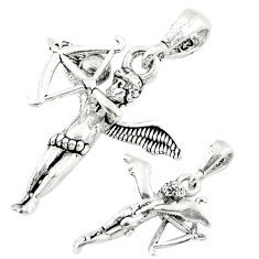 Bow arrow angel wing cupid charm 925 sterling silver children pendant c21214