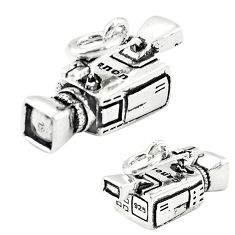 5.86gms camcorder charm baby jewelry 925 sterling silver children pendant c21143