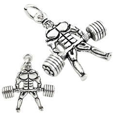 4.45gms muscle baby charm solid 925 sterling silver children pendant c21228