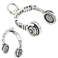 Music baby headphone jewelry charm sterling silver children pendant c21192
