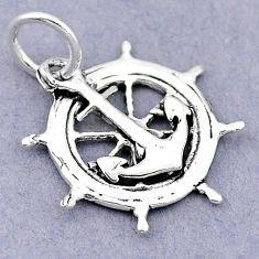 1.83gms newborn charm anchor ship wheel sterling silver children pendant c21193