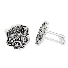12.03gms indonesian bali style solid 925 sterling silver angel cufflinks c26406