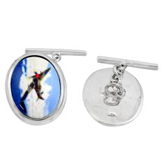 18.22cts cameo 925 sterling silver airplane cufflinks jewelry c26414