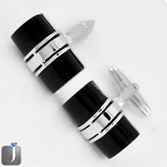 CLASSIC NATURAL BLACK ONYX 925 STERLING SILVER CUFFLINKS EARRINGS JEWELRY G4561