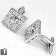 CLASSIC NATURAL WHITE TOPAZ 925 STERLING SILVER CUFFLINKS EARRINGS JEWELRY G4568