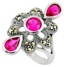 Art deco ruby quartz marcasite 925 sterling silver ring jewelry size 6.5 c17254