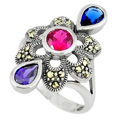Art deco ruby quartz sapphire quartz 925 sterling silver ring size 5.5 c17249