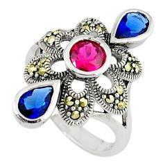 Art deco ruby sapphire quartz 925 sterling silver ring jewelry size 6.5 c17259
