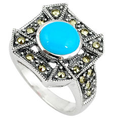 Blue sleeping beauty turquoise marcasite 925 silver ring jewelry size 7.5 c17256