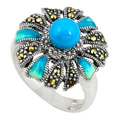 Blue sleeping beauty turquoise marcasite 925 silver ring size 7.5 c17248