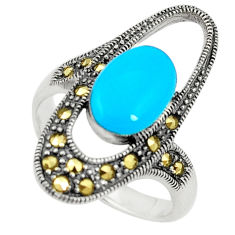 Blue sleeping beauty turquoise marcasite 925 silver ring size 8.5 c17250