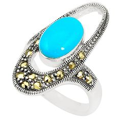 Blue sleeping beauty turquoise marcasite 925 silver ring size 8.5 c17243