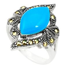 Blue sleeping beauty turquoise marcasite 925 silver ring size 7.5 c17242