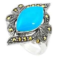 Blue sleeping beauty turquoise marcasite 925 silver ring size 6.5 c17241