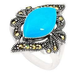 Blue sleeping beauty turquoise marcasite 925 silver ring size 8.5 c17246