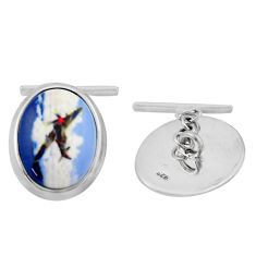 18.98cts cameo 925 sterling silver airplane cufflinks jewelry c26419