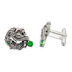 2.61cts green emerald (lab) ruby (lab) 925 silver dragon cufflinks c26391