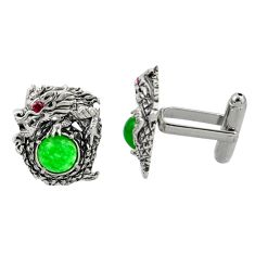 7.74cts green jade ruby (lab) 925 sterling silver dragon cufflinks c26388