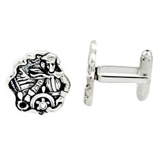 12.02gms indonesian bali style solid 925 sterling silver angel cufflinks c26392
