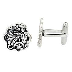 12.26gms indonesian bali style solid 925 sterling silver angel cufflinks c26393