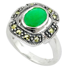 Natural green chalcedony oval swiss marcasite 925 silver ring size 6.5 c17251