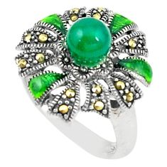 Natural green chalcedony marcasite 925 silver ring jewelry size 6.5 c17247