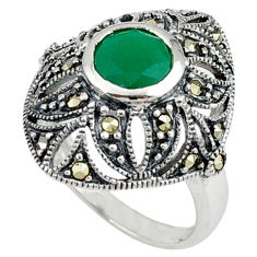 Natural green chalcedony marcasite 925 silver ring jewelry size 7.5 c17253