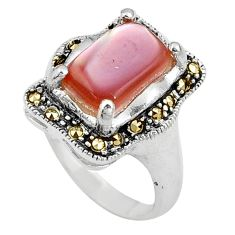 3.91cts pink pearl marcasite 925 silver solitaire ring jewelry size 6 c17258
