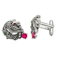 2.65cts red ruby (lab) emerald (lab) 925 sterling silver dragon cufflinks c26384