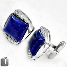 NATURAL BLUE LAZULI LAPIS TOPAZ 925 SILVER CUFFLINKS EARRINGS JEWELRY G4563