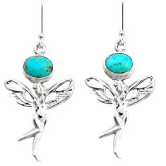 925 silver 5.28cts arizona mohave turquoise angel wings fairy earrings p38445
