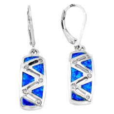 925 silver 1.25cts blue australian opal (lab) topaz enamel dangle earrings c3147