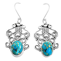 925 silver 7.97cts blue copper turquoise hand of god hamsa earrings p41454