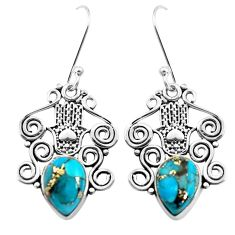925 silver 6.29cts blue copper turquoise hand of god hamsa earrings p41457