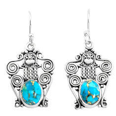 925 silver 6.03cts blue copper turquoise hand of god hamsa earrings p51935